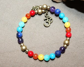Bronze Aum Chakra 7 gemstone bracelet