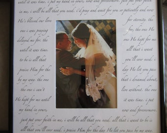 Custom WEDDING SONG Photo Mat with frame. Your choice of lyrics, poem or quote on 11x14 photo mat for 5x7 photo with frame. Perfect gift.