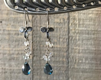 Midnight flower earrings, London blue topaz earrings,
