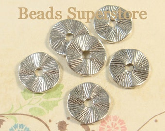 13 mm Antique Silver Wavy Spacer Bead - Nickel Free, Lead Free and Cadmium Free - 20 pcs