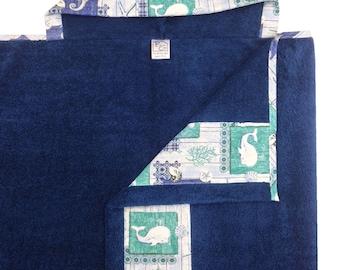 Sea Life Navy Hooded Towel