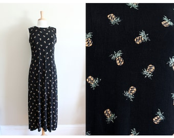 Vintage Black Jersey Knit Glitter Pineapples Maxi Dress