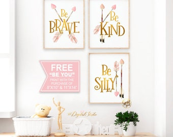 Woodland Nursery Decor, Nursery Art, Boho Nursery Decor, Kids Room Decor, Baby Room Decor, Be Brave, Gold Foil Print, Pink and Gold Nursery