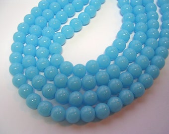 8mm Blue Beads Robins Egg Blue Rounds Opaque Sky blue beads 8mm 40 glass Beads 12 inch strand 1mm Hole