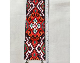 Ukraine Ethnic Loom Bead Cuff Bracelet, Ukrainian Bracelet, Wide Loom Beaded Bracelet, Bead Cuff Bracelet, Loom Bead Jewelry, Native Jewelry