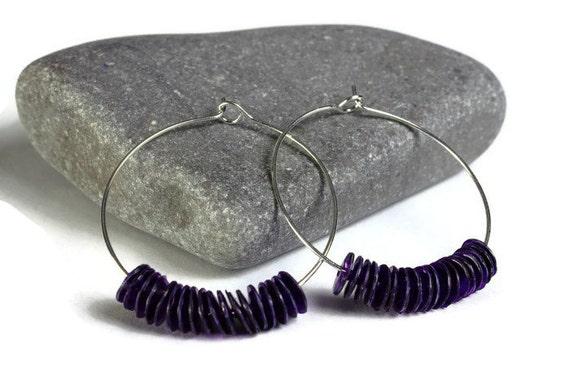 Purple violet mauve sequins hoop earrings (638)