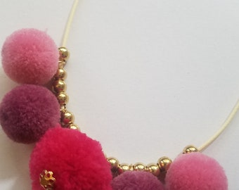 NEW! Pinks Pom Pom Necklace- / Soft and fluffy Necklace / Pompom /  Fun Necklace / Colorful Necklace / Gift