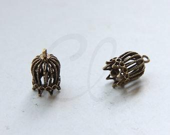 2 Pieces Antique Brass Charm - Cone - Bird Cage 15x9mm (5500Z-M-435)