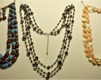 3 Vintage Triple Strand Necklaces