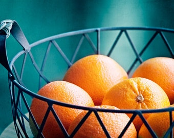 "Fruit Photography - kitchen decor orange teal blue dark turquoise aqua food wall art print still life - 10x15, 8x12 Photograph, ""Vitamin C"""