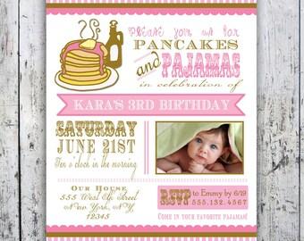 Pancakes and Pajamas Party Invitation - Photo Card - Printable File