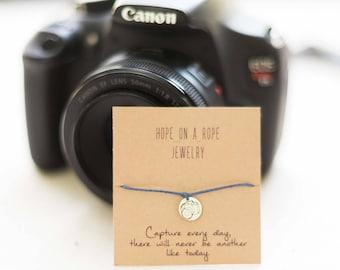 Camera Bracelet - Capture Bracelet - Camera Charm Bracelet - Photographer Bracelet - Sterling Silver Camera Bracelet - Camera Cord Bracelet