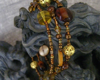 Honey Brown and Golden Yellow Beaded Wrap Memory Wire Bracelet