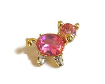 Joan Rivers Signed Pink & Clear Rhinestones Tiny Pig or Piglet Brooch Vintage Figural