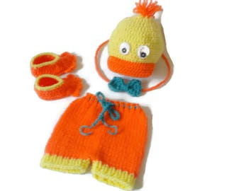 Baby Duck Outfit, First Infant Gift Set, Baby Duckling, Crochet Newborn Costume, Unisex Knit Wear, Baby Bird Suit