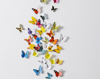 Stereoscopic wall sticker 3D simulation Butterflies Wall sticker ,3D butterflies wall decal- set of 38 various sizes, various colors
