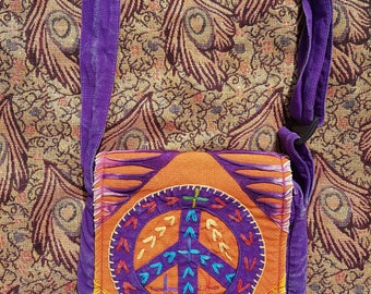 Peace Slash Patchwork Bag, Stonewash Colourful Design,  Hippy Boho Festival