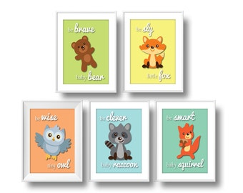 Forest Nursery, Be Brave Series Pastel Nursery Wall Art, Baby Forest Animals Nursery Decor
