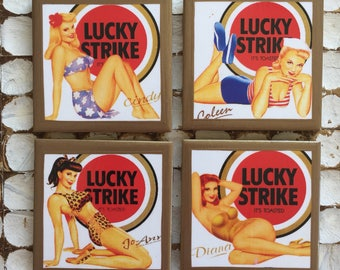 COASTERS! Retro Lucky Strike pinup coasters with gold trim