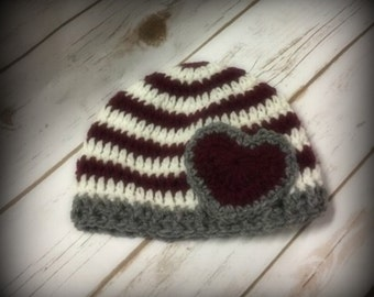 Crochet Hat, Newborn  Hat, Baby Hat, Hat with Heart, Valentine Hat (Ready to Ship)