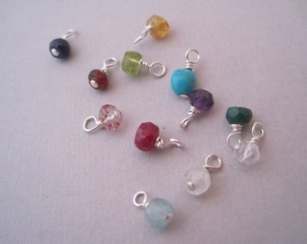 Tiny Semi Precious Birthstone Drop - Birthstone Jewelry - Birthstone -Family Tree - Semi Precious Stones - Birthstone Charms