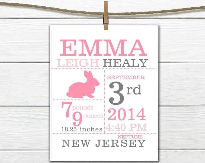 Birth Announcement Print - Bunny Birth Stats Print -  Custom Colors - Pink and Gray Nursery