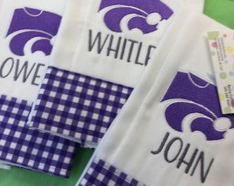Wildcats Burp Cloth, K-State Burp Cloth, Embroidered Burp Cloth, Purple Burp Cloth, Mascot Burp Cloth, Monogrammed Burp Cloth