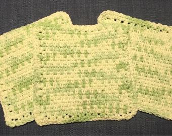 Three Crochet Cotton Washcloths