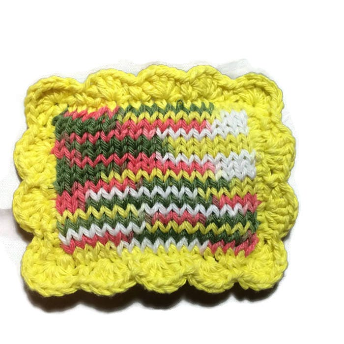 Knitted Sponge / Knitted Dishcloth / Fruit Bowl Scrubby / Pot ...