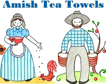 Amish Tea Towels Day Of The Week Flour Sack Towels PDF DOWNLOAD Pennsylvania Dutch Farm Tea Towels Vintage Embroidery Pattern Kitchen Towels