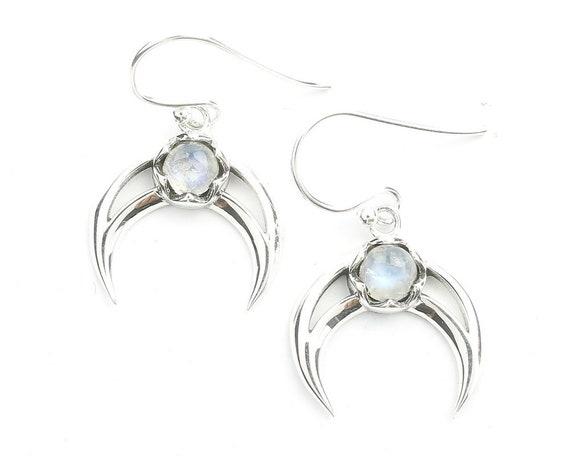Moonstone Moon Earrings, Sterling Silver Moonstone Earrings, Crescent Moon Earrings, Crystal, Stone, Gemstone, Rainbow Moonstone