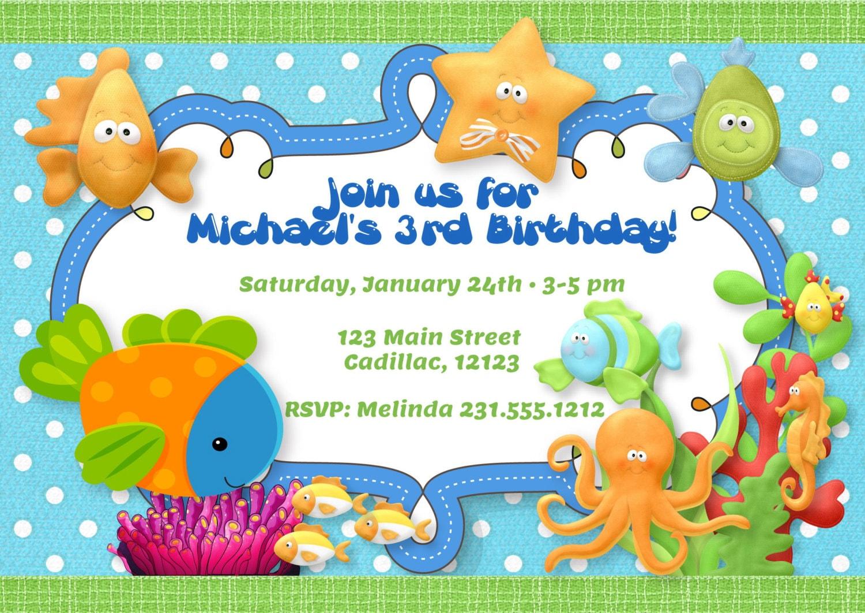 Under the Sea Theme Birthday Party Invitation Boys Under the
