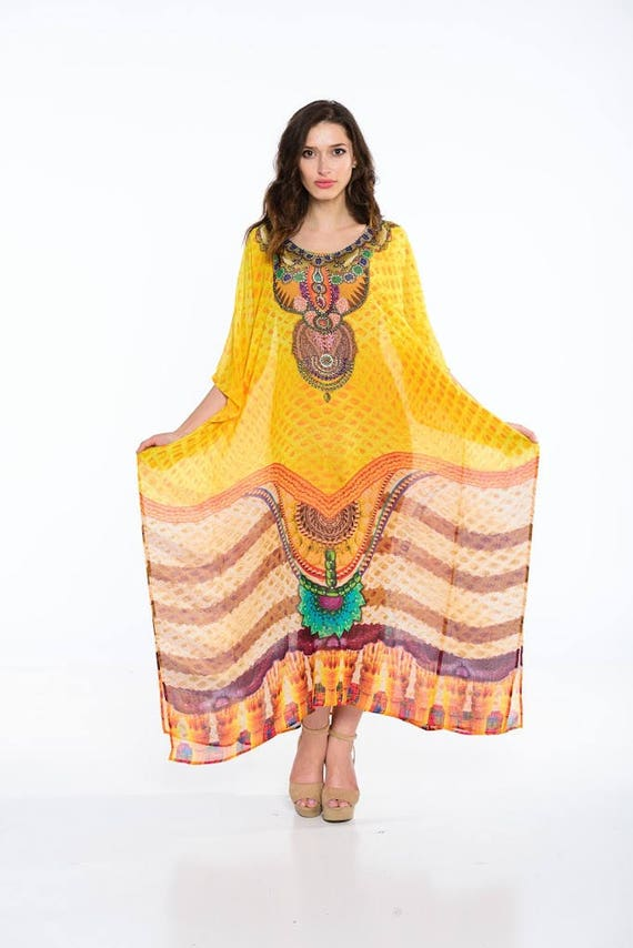 Gelb Kaftan Kleid lange Maxi Sommerkleid Plus Size Kleid