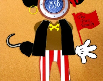 Disney Cruise Door Magnet Mickey Mouse Pirate Night Decoration Pirates In the Caribbean w/ FREE name personalization !