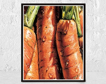 Carrot Print, Carrot Art, Food Illustration, Kitchen Decor, Vegetable Print, Vegetable Painting,Nature Ar, Carrot Painting