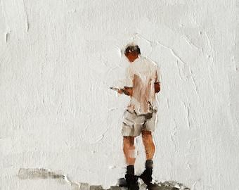 Hiking Painting Hiking Walking Art PRINT Man Hiking on Hillside Art Print - from original painting by J Coates