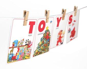 "Digital Christmas ABC flashcards / alphabet flash cards/ downloadable / printable / 5"" by 7"""