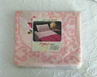 Vintage Cotton TWIN SHEET Pink Rose 70s Flat Grant Maid Bel Air in Package