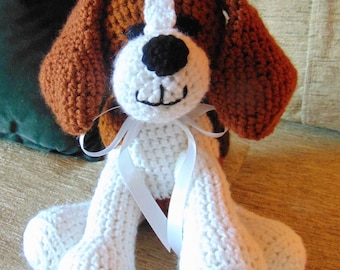 "Crocheted Beagle puppy dog stuffed animal doll toy ""Benny"""