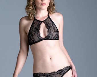 Lingerie - Black Lace Bikini Panties - 'Belladonna' Style French Lace and Mesh Panty - Custom Fit Womens Lingerie