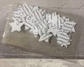 Merry Christmas Star Confetti Christmas Confetti - wedding confetti - white confetti- table confetti - -balloon confetti -
