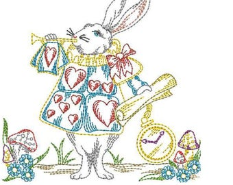 Embroidered Patch / applique - white rabbit colorwork - Alice in Wonderland sew or glue on 5 inch ANY COLORS