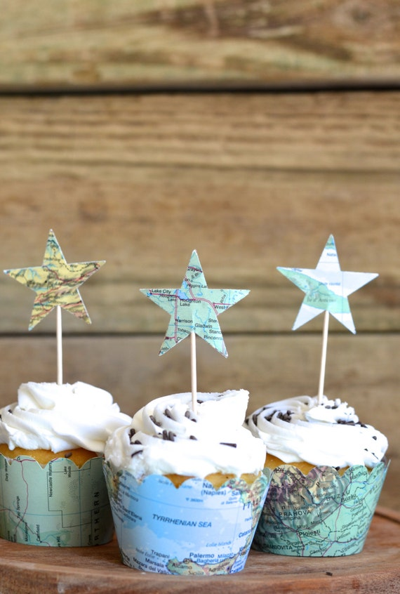 Vintage Map Star Cupcake Toppers - perfect for your adventure themed wedding, baby shower, or birthday!