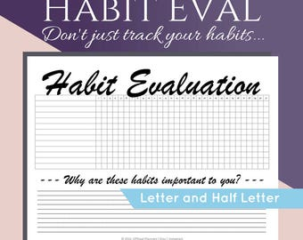 Printable Monthly Habit Tracker, Habit Review, Letter Size and Half Letter Planner Printable. Daily Routine Chart, Tracker PDF