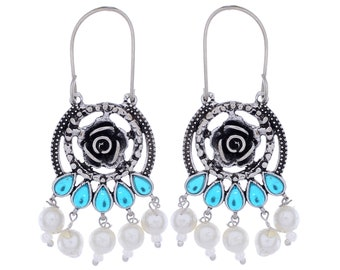 Fabulous Blue Topaz, River Pearl 925 Silver Earrings
