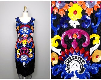 INCREDIBLE Neon Sequined Dress / Colorful Sequin Embellished Trophy Dress Medium