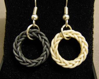 Single Strand Eight Plait Grommet Earrings (Charcoal and Cream)