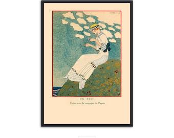 """Art Deco fashion illustration """"Un Peu..."""" by Georges Barbier, IL060."""