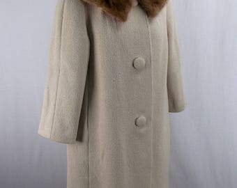 Oatmeal Color Wool Coat with Fur Collar