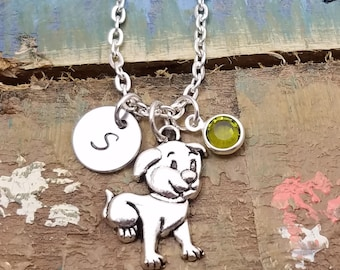 Puppy necklace, dog necklace, silver dog charm, dog lover gift, dog jewelry, puppy jewelry, pet jewelry, animal jewelry, pet necklaces, gift